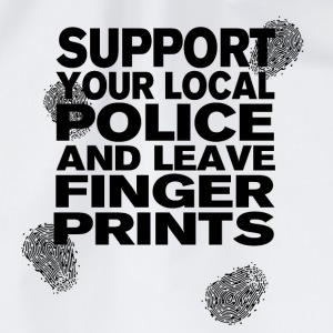 Support The Police - Leave Fingerprints Black T-Shirts - Turnbeutel