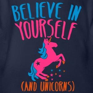 BELIEVE in yourself (AND UNICORNS) rough  Shirts - Organic Short-sleeved Baby Bodysuit