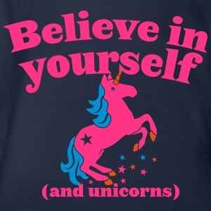 Believe in yourself (and UNICORNS) plain Shirts - Organic Short-sleeved Baby Bodysuit