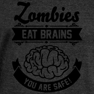 Zombies eat Brains you are safe! T-Shirts - Women's Boat Neck Long Sleeve Top