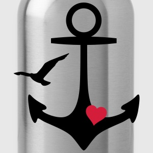anchor heart and gull T-Shirts - Water Bottle