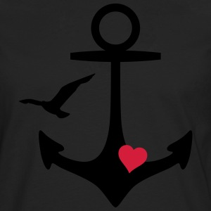 anchor heart and gull anker hart en meeuw T-shirts - Mannen Premium shirt met lange mouwen