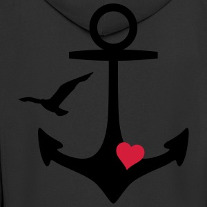 anchor heart and gull T-Shirts - Men's Premium Hooded Jacket