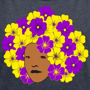 Flowery Summery Afro Hoodies & Sweatshirts - Women's T-shirt with rolled up sleeves