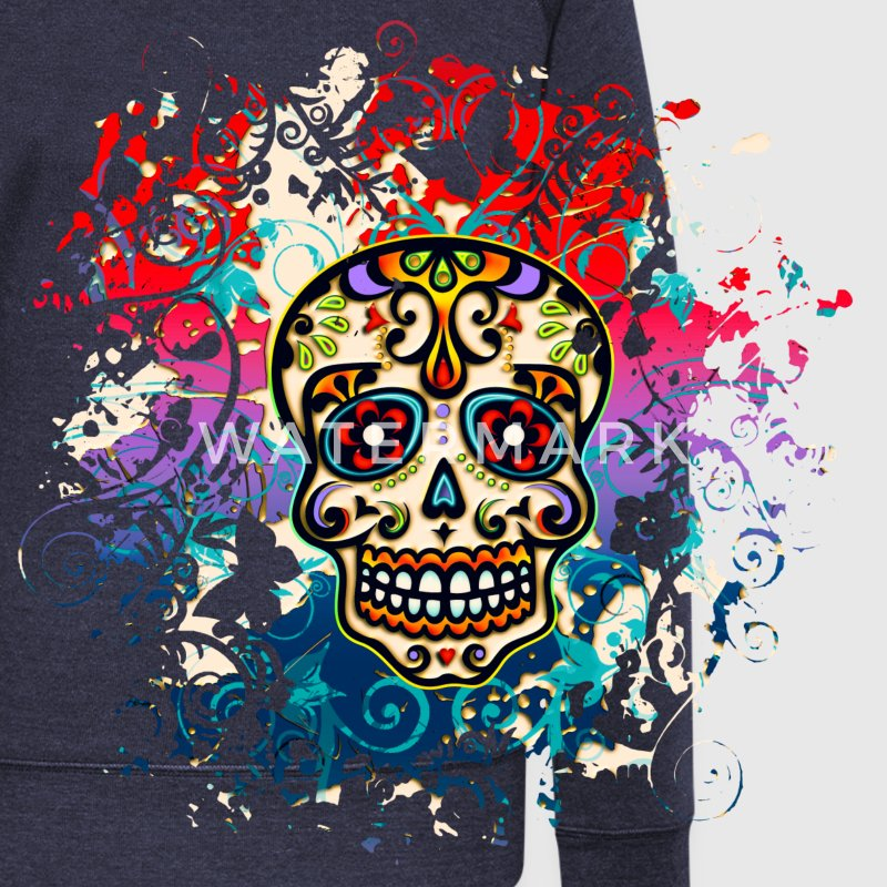 Mexican Sugar Skull - Day of the Dead Hoodies & Sweatshirts - Women's Boat Neck Long Sleeve Top