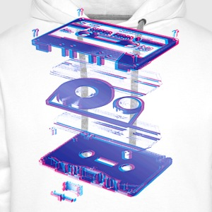 White audio cassette tape compact 80s retro walkman Men's Tees - Men's Premium Hoodie