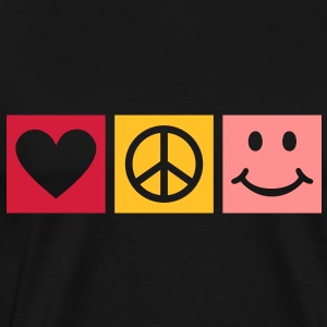 Peace Love Happiness * Smiley Smilie icon hart Sweaters - Mannen Premium T-shirt