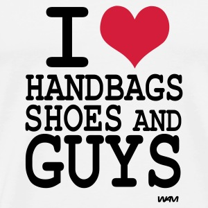 Weiß i love shoes handbags and guys by wam Pullover - Männer Premium T-Shirt