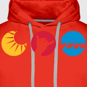 Shaka sun water waves greeting  T-Shirts - Men's Premium Hoodie