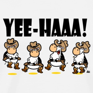 White Yee-HAAA! Linedancing Cows Buttons - Men's Premium T-Shirt