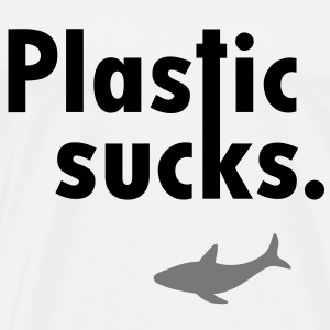 Plastic sucks ** Shark bevarelse vegetarer Sweatshirts - Herre premium T-shirt