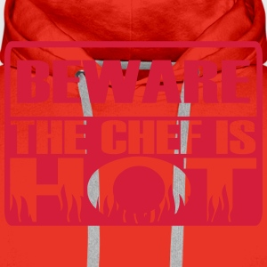 Beware the chef is hot  Aprons - Men's Premium Hoodie