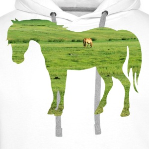 Horse on the pasture - Wide green meadows Shirts - Men's Premium Hoodie