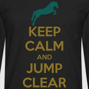 Keep Calm and Jump Clear Horse Design T-shirts - Långärmad premium-T-shirt herr