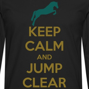 Keep Calm and Jump Clear Horse Design T-skjorter - Premium langermet T-skjorte for menn