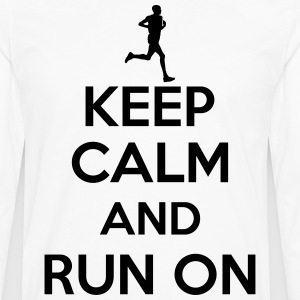 Keep calm and run on T-shirts - Herre premium T-shirt med lange ærmer