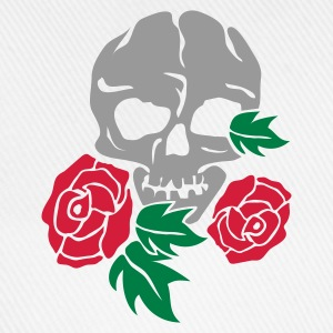Weiß skull and rose Tassen - Baseballkappe