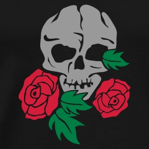 Zwart skull and rose Paraplu - Mannen Premium T-shirt