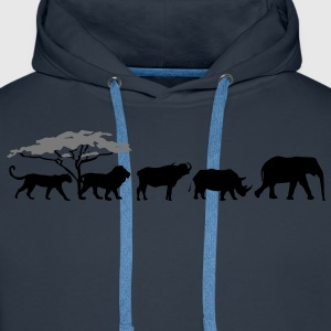 Big Five in de savanne  T-shirts - Mannen Premium hoodie