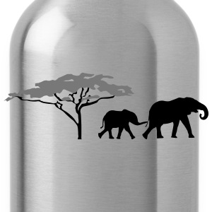 Elephants in the savannah  T-Shirts - Water Bottle
