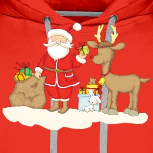 Santa Claus with presents and reindeer - Felpa con cappuccio premium da uomo
