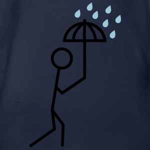 man in the rain with umbrella man in de regen met paraplu Shirts - Baby bio-rompertje met korte mouwen