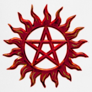 Pentagram - Blazing Star- Sign of intellectual omnipotence and autocracy. digital red, Star of the Magi , powerful symbol of protection Camisetas - Delantal de cocina
