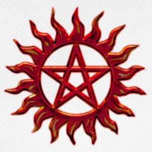 Pentagram - Blazing Star- Sign of intellectual omnipotence and autocracy. digital red, Star of the Magi , powerful symbol of protection T-shirts - Basebollkeps