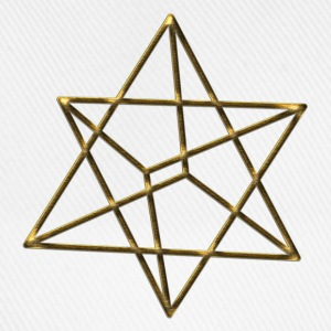 Merkaba, 3D, gold, divine light vehicle, sacred geometry, star tetrahedron, flower of life T-Shirts - Baseball Cap