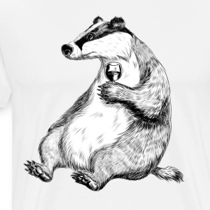 Badger with Wine Tabliers - T-shirt Premium Homme