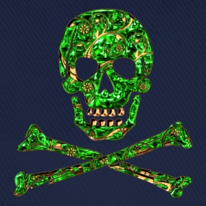 Skull, Emerald, pirate, digital, Crystal Skull T-shirts - Baseballcap
