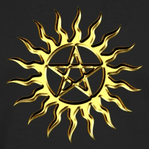 Pentagram - Blazing Star- Sign of intellectual omnipotence and autocracy. digital gold, Star of the Magi , powerful symbol of protection T-Shirts - Men's Premium Longsleeve Shirt