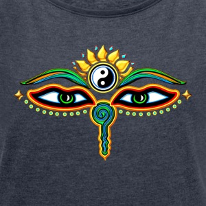 Eyes of Buddha, symbol wisdom & enlightenment,  Sweat-shirts - T-shirt Femme à manches retroussées