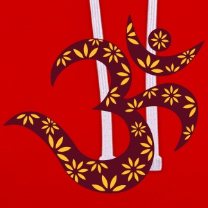 OM flower symbol, mantra, pattern, Aum, Buddhism, T-Shirts - Contrast Colour Hoodie
