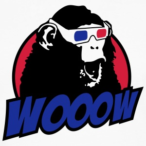 3D Glasses amazed Monkey T-Shirts - Men's Premium Longsleeve Shirt