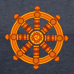 Dharma Wheel of Fortune, Buddhism, Chakra Gensere - T-skjorte med rulleermer for kvinner
