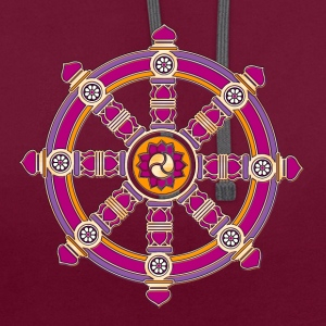 Dharmachakra, Darma Wheel of Law, Buddhist Symbol T-Shirts - Contrast Colour Hoodie