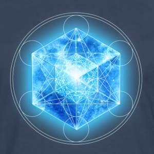 Metatrons Cube with TESSERACT, Hypercube 4D, digital, Symbol - Dimensional Shift,  T-shirts - Herre premium T-shirt med lange ærmer