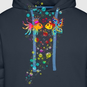 Bubble Love, Fish, water, heart, holiday, sea,  T-Shirts - Men's Premium Hoodie