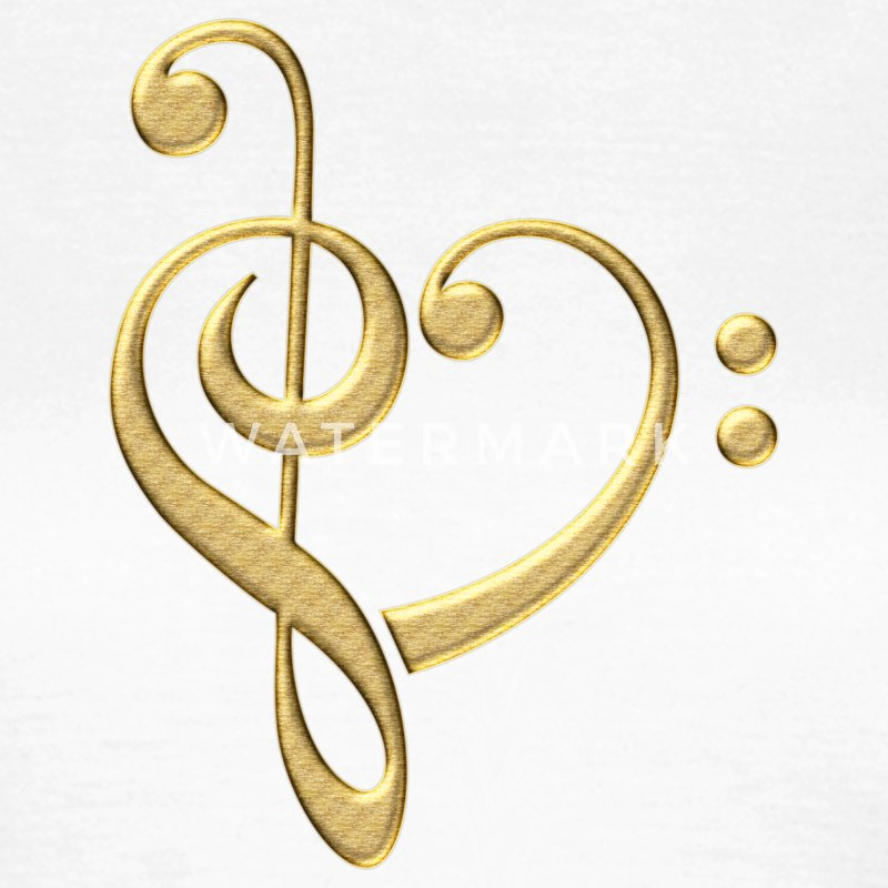 Bass clef heart, treble clef, music lover, notes T-skjorter - T-skjorte for kvinner