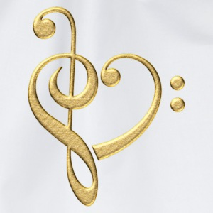Bass clef heart, treble clef, music lover, notes T - Drawstring Bag