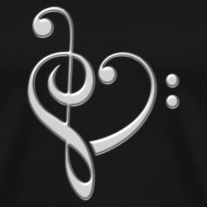 Bass clef heart, treble clef, music lover, notes Bluzy - Koszulka męska Premium