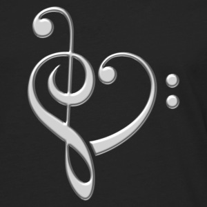 Bass clef heart, treble clef, music lover, notes Sweaters - Mannen Premium shirt met lange mouwen
