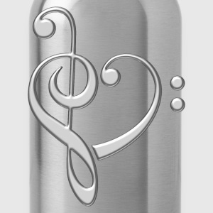Bass clef heart, treble clef, music lover, notes Camisetas - Cantimplora