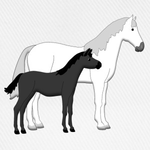 horse and foal white and black Accesorios - Gorra béisbol