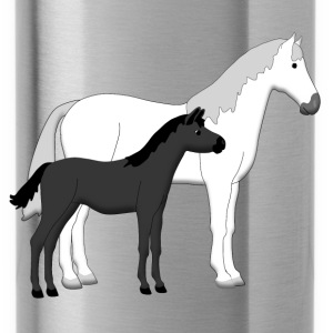 horse and foal white and black Accessoires - Drinkfles
