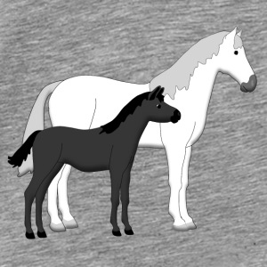 horse and foal white and black Tilbehør - Premium T-skjorte for menn