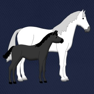 horse and foal white and black Shirts - Baseballcap