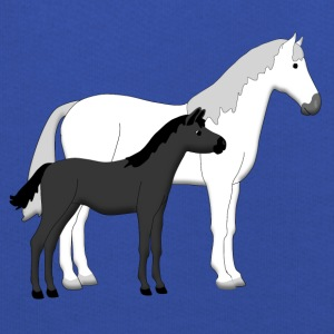 horse and foal white and black T-shirts - Premium-Luvtröja barn