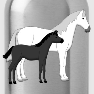 horse and foal white and black Shirts - Drinkfles